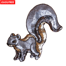 GUGUTREE embroidery paillette big squirrel patches animal patch badge Applique Patch for Coat,T-Shirt,hat,bags,Sweater,backpack