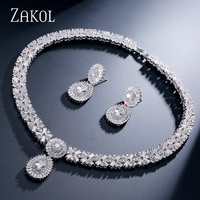 ZAKOL New Arrival Trendy 4 Color Choice AAA CZ Diamond Unisex Necklace And Earrings Set Platinum