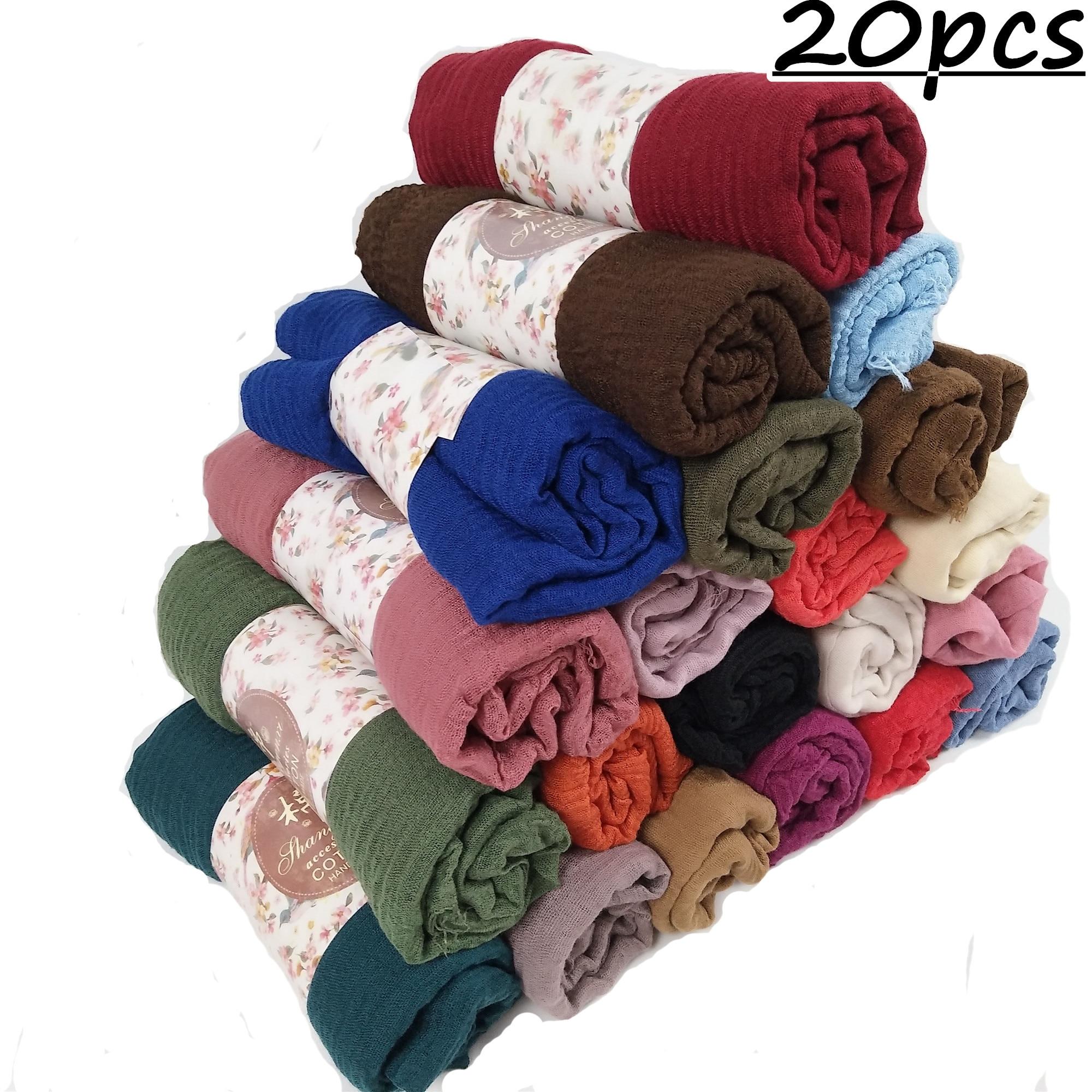 N16 20pcs 1lot Bubble Plain Wrinkle   Wrap   Bubble Cotton Viscose Long Shawl   Scarf   Women Crinkled Hijab Shawl Muslim Head Hijab