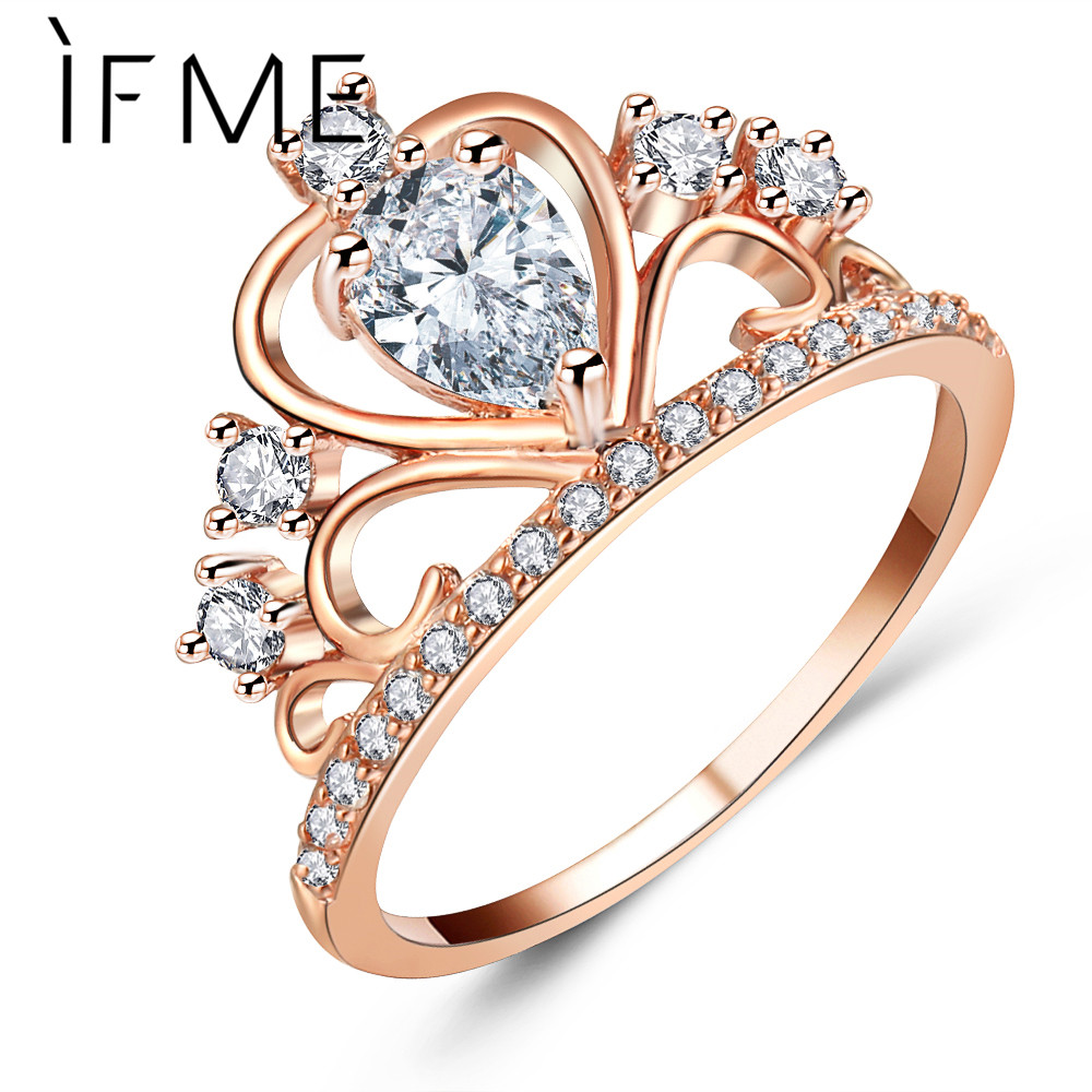 If Me Fashion Princess Queen Crown Engagement Rings With Clear Cz Cubic  Zirconia Crystal Rings Rose