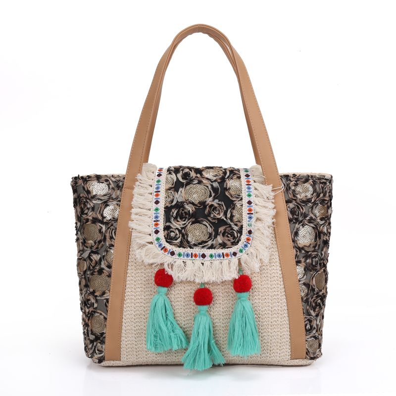women Bohemian straw handbag Lace tassel beading beading Embroidery bag shoulder bag handmade Cotton Bag national ethnic bags 2016 summer national ethnic style embroidery bohemia design tassel beads lady s handbag meessenger bohemian shoulder bag page 2