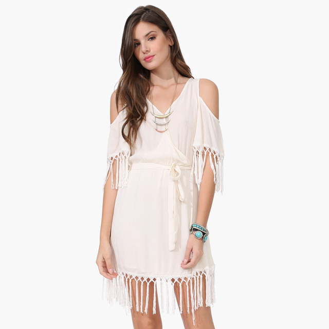 cef2b644da Sexy V-Neck off the shoulder Bohemian Dress 2016 Summer short sleeve tassel white  chiffon women dress with belt