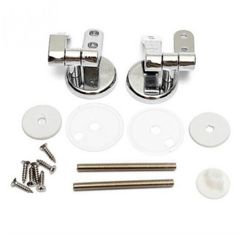 купить Excellent Quality Replacement Toilet Seat Hinges Set silver zinc alloy Chrome with Fittings Screws For Toilet Accessories 1 Pair по цене 386.91 рублей