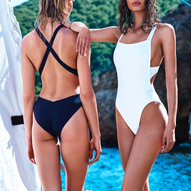 2016 white solid swimwear female one piece sport ...