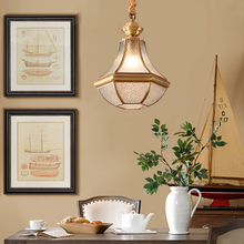 Nordic European Dimmable Brass Copper Dining Room Hanging Pendant Lamp Luxury Stair Bedroom Glass Suspension Light Fixture