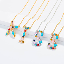 Initial Necklace Multicolor CZ Personalized Letter Name Jewelry Alphabet Women Kolye Collier
