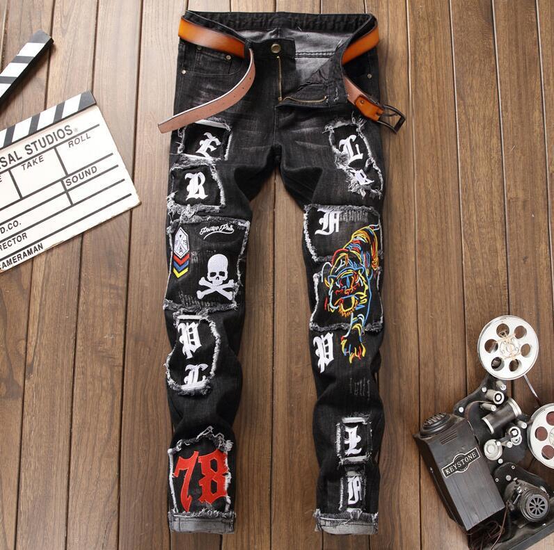 Automne hiver hommes jeans uomo lavé usé broderie tigre Shantou badge petits pieds élastique force jeans hommes slim fit pantalon