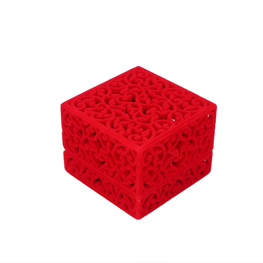1Pcs Chinese Style Velvet Delicate Ring Box Storage Case Hollow Out Jewelry Display Gift Ring Box