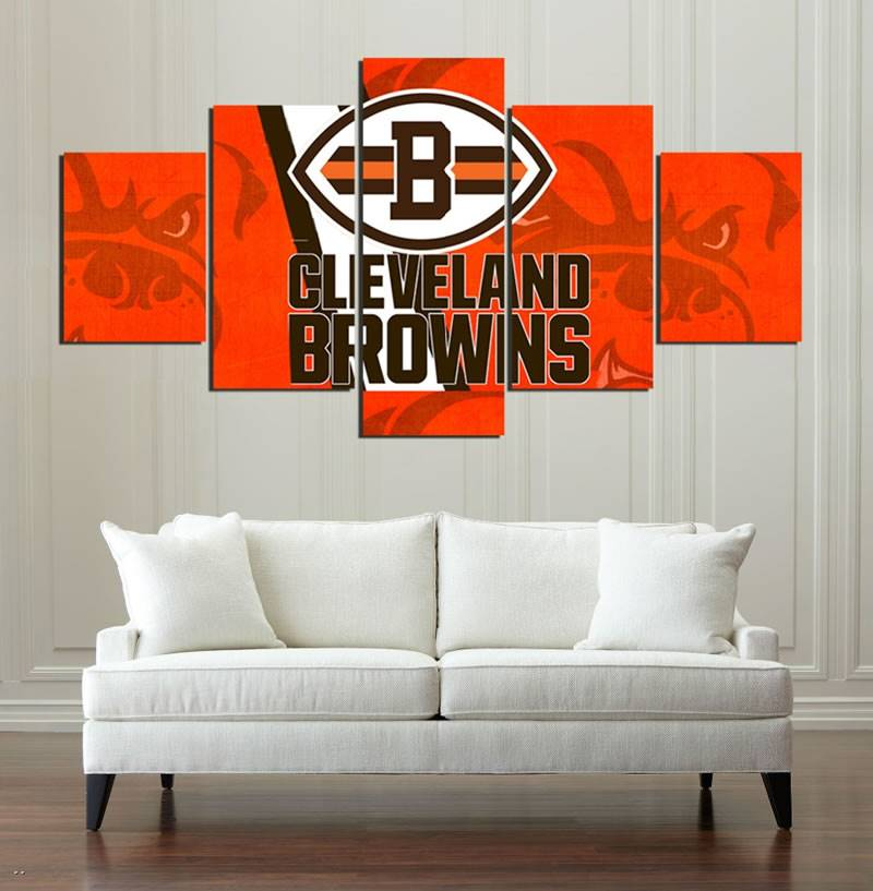5 Panels Cleveland Browns Sports Team Logo Oil On Canvas Photo Prints Liveing Modern Home Room Deco Modular Picture Wall Art