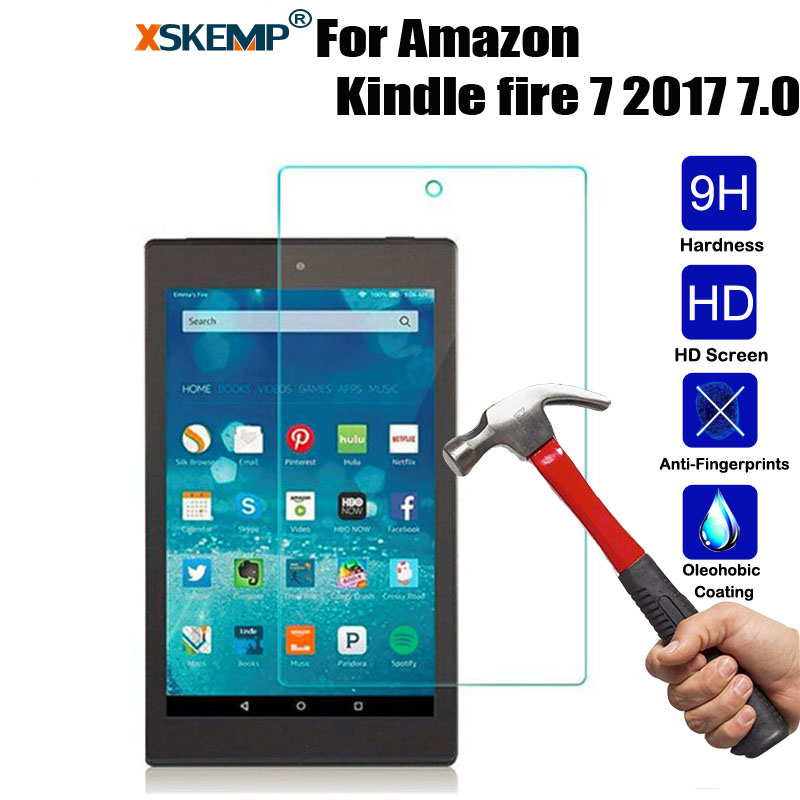 XSKEMP 0.3mm Transparent Real Tempered Glass For Amazon Kindle fire 7 2017 7.0 Ultra Clear Tablet Screen Protector Film Guard g3 3 protective 0 3mm tempered glass clear screen guard protector for lg g3 transparent