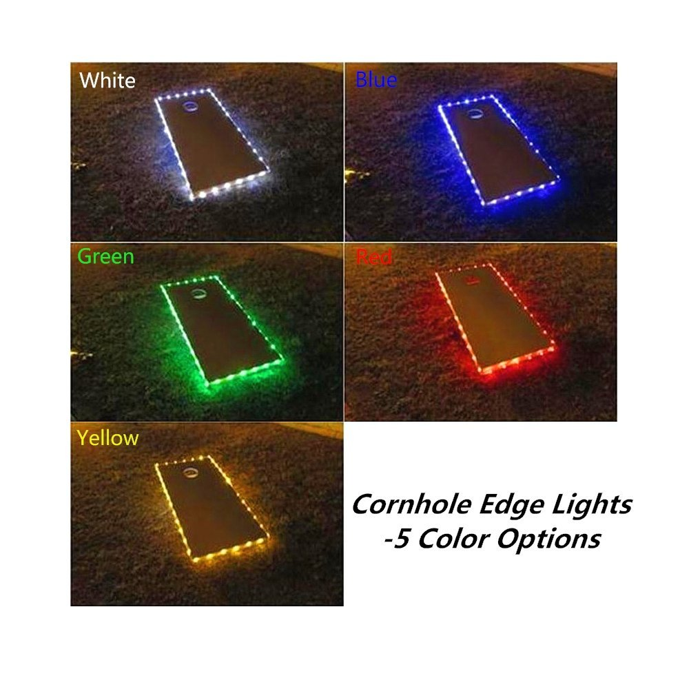 Set Of 2 Cornhole Board Edge Lights Waterproof Lights With 5 Colors Options Last 100+ Hours On 3 AA Batteries(not Included)