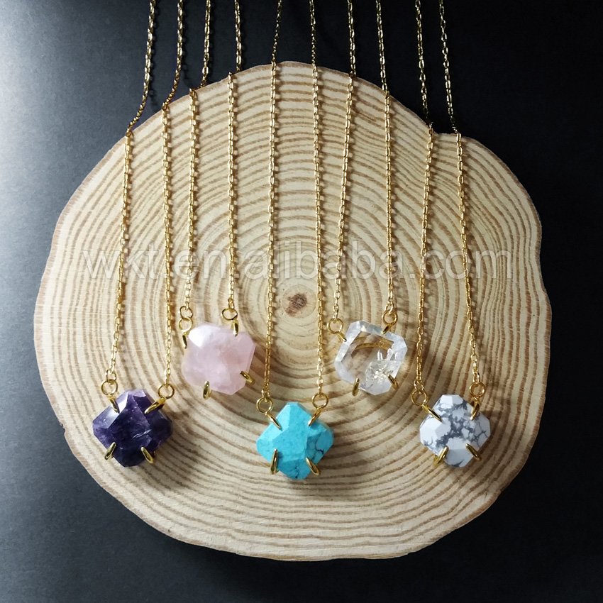 WT N720 natural rose stone necklace charm mix color 24K gold trim chain necklace raw crystal