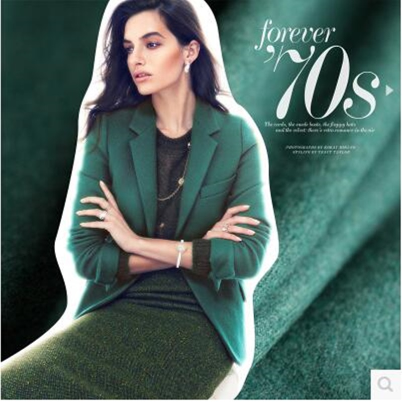 Woolen fabric winter coat fabrics green cloth  310grams per metre