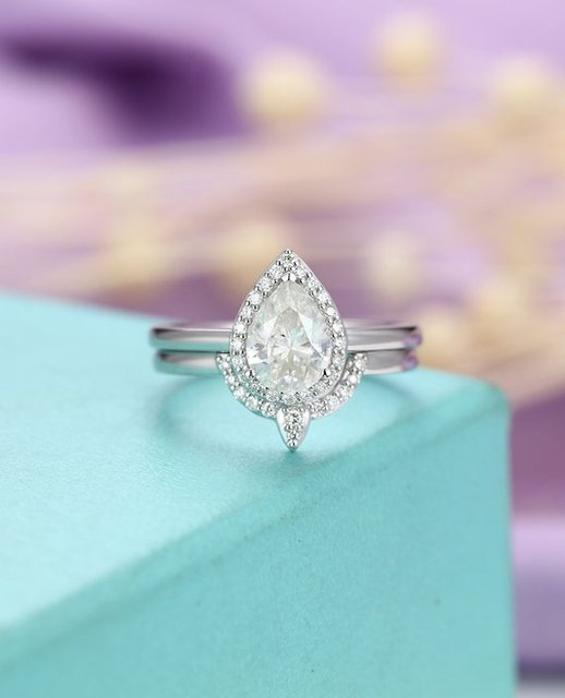Myray Pear Shape Moissanite Wedding Ring Set Diamond Engagement Ring