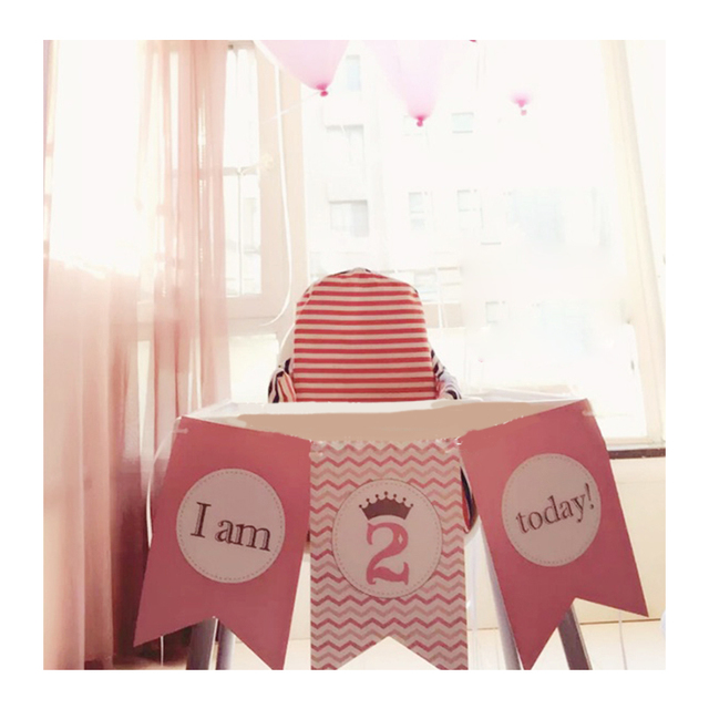 1st Birthday Pink Girl First Personalized Party Decorations High Chair Flag Banner Decorationparty Supplies