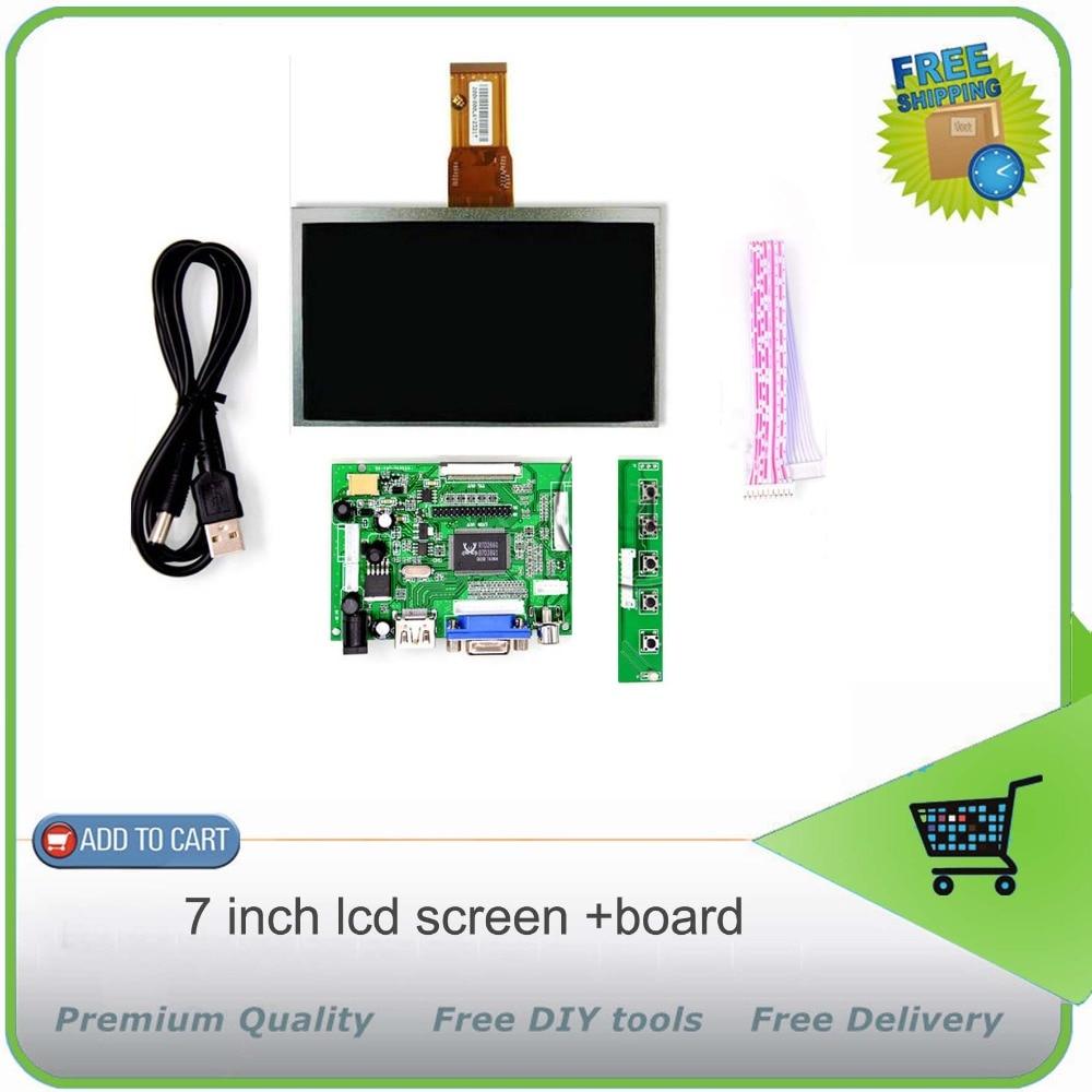 7 inch LCD Panel Digital LCD Screen and Drive Board(HDMI+VGA+2AV) for Raspberry PI / Pcduino / Cubieboard - (1024 x 600)