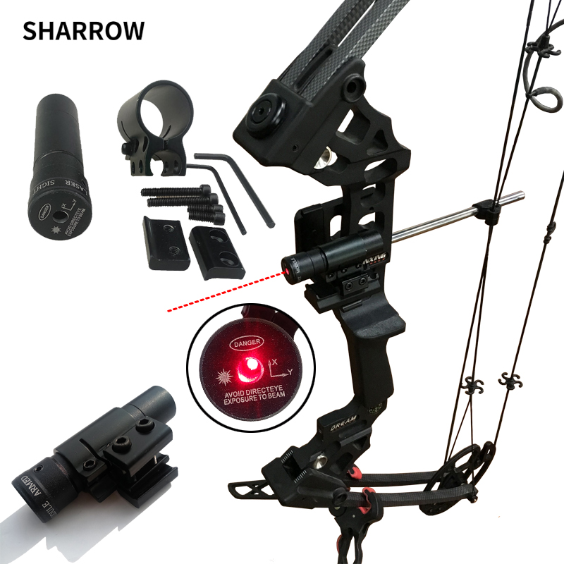 Bow Sight 50-100M Range 635-655nm Red Dot Laser Sight Pistol Adjustable 11mm 20mm Picatinny Rail Hunting Accessory
