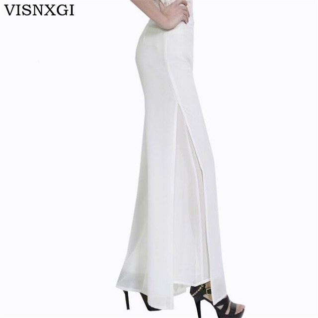 US $19.5  High Quality Womens Wide Leg Dress Pants Plus Size Office Ladies  Wide Legged Skirt Trouser Double Layer Long Pant Side Open K115-in Pants &  ...