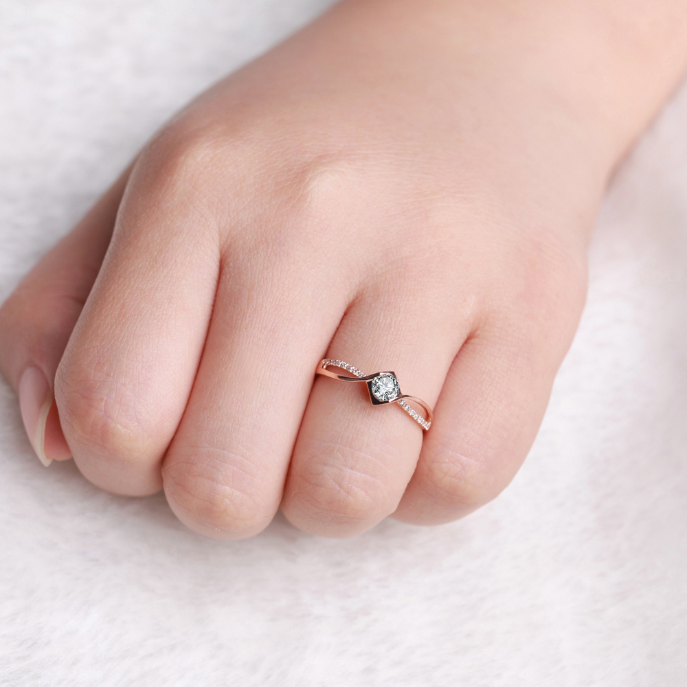 GVBORI Love 0.18Carat 18K Rose Gold Diamond Ring Romantic Gift ...
