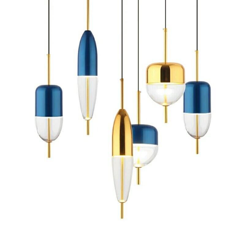 Modern creative fish floating design single head pendant lamp Nordic plating golden restaurant DIY decorative LED glass lighting