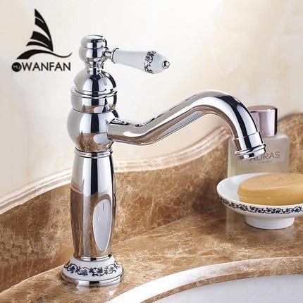 Basin Faucet Brass Chrome Silver Bathroom Sink Faucet Ceramic Single Lever Hole Deck Mount Hot Cold
