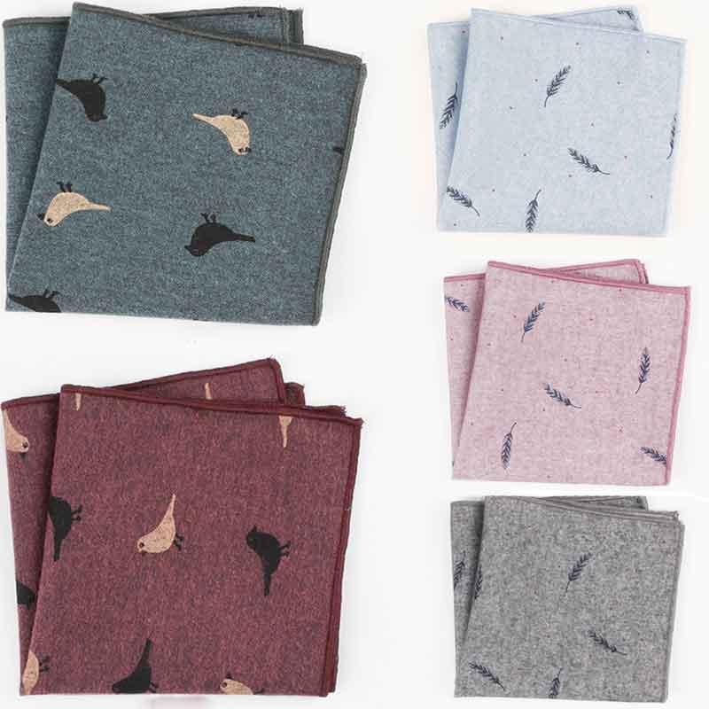 2Pcs/set Luxury Men's Handkerchief Cotton Suit Pocket Towel Accessories Quality Single Side Printed Square Chest Towel 24*24cm