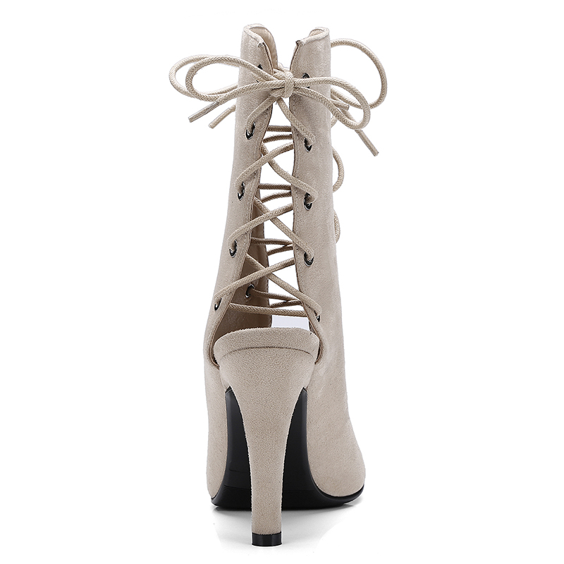 Summer Sandals Boots Sexy Lace UP Sandals Cross Strappy Peep Toe Shoes 2019 Spring Autumn Women Ankle Boots 10cm Stiletto Heels in Ankle Boots from Shoes