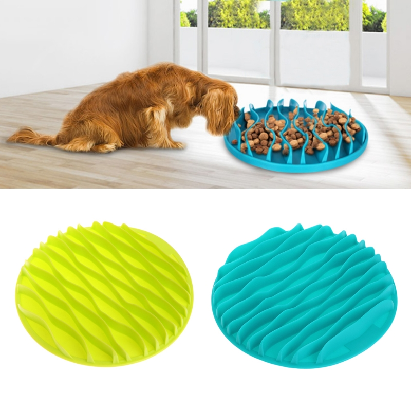 Pet Dog Kitty Interactive Slow Food Anti Gulp Feed Healthy Anti Slip Dish Feeder Kitten Wave Pattern Cat Bowl Christmas