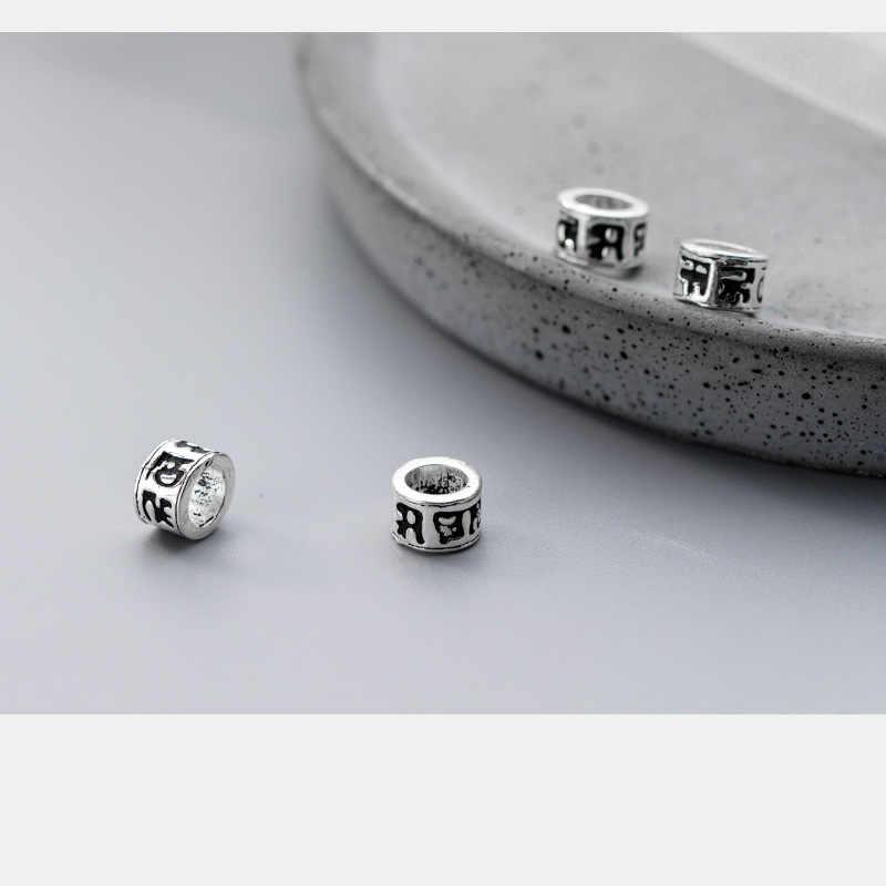 925 Plata de Ley Om mani padme hum espaciador redondo cuentas Buda decoración gran agujero abalorios DIY joyería fabricación Accesorios