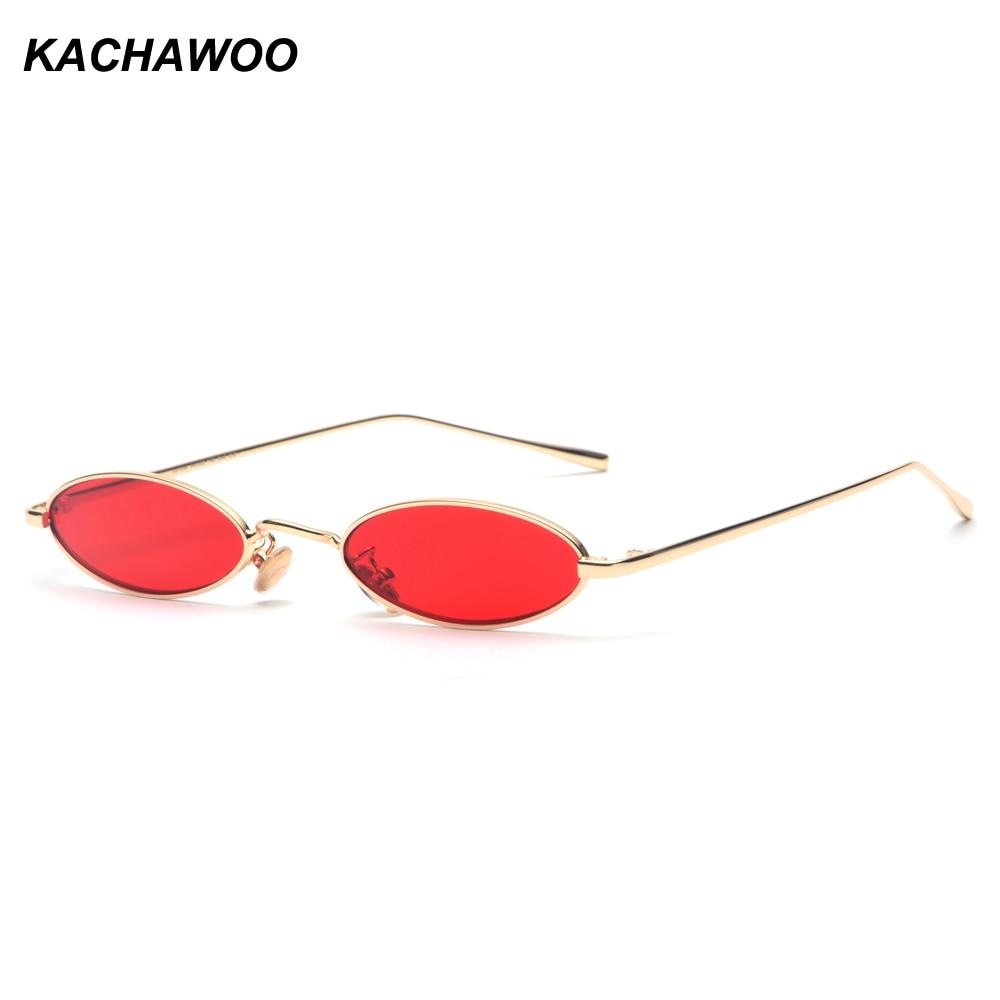 6546c801503 Kachawoo wholesale 6pcs vintage small frame sunglasses men oval metal frame  gold red mens retro sun glasses for women 2018 uv400