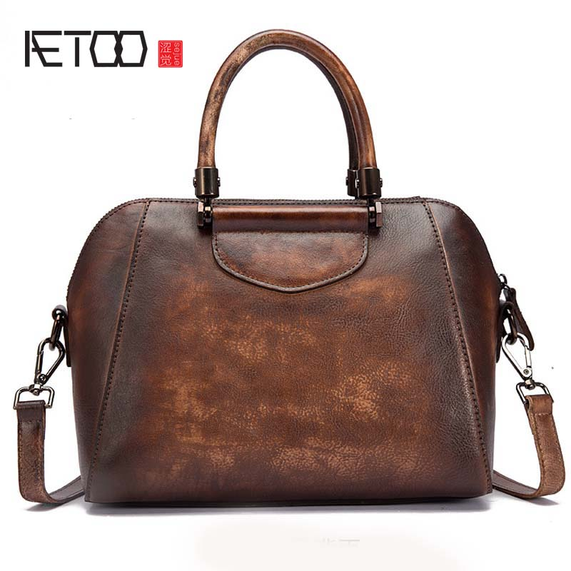 AETOO Female bag trend the first layer of leather retro style ladies shoulder bag personalized hand-colored fashion shell bag цена