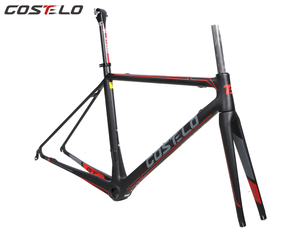COSTELO GT ZERO 7 carbon road bike frame,fork headset clamp, seatpost Carbon Road bicycle Frame Light weight free shipping 2018 light only 950g road frame full carbon fiber road bike 60cm frame bicycle frameset packaging frame fork seatpost hanger