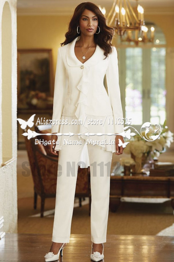 Amp1140 Ivory Chiffon Modern Mother Of The Bride Pant Suits With