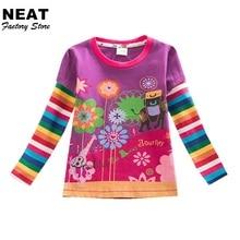 Retail Children t Shirts Kids Flower t-shirt Girls Stripe Long Sleeve T Shirt Child Clothing Neat Kids Shirts L328 Mix