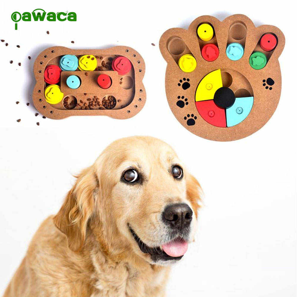 1 Pcs Dogs Puzzle Toys Bones Paw Prints Wooden Fun Feeding Multi-functional Interactive Dog Toys For Cats Pet Feeder Educational