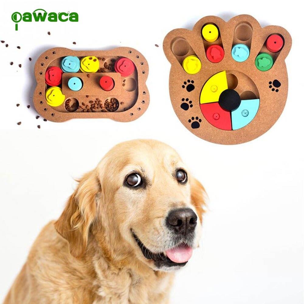 1 pçs brinquedos de quebra-cabeça de cães ossos pata imprime diversão de madeira alimentação multi-funcional interativo brinquedos do cão para gatos alimentador de animais de estimação educacional
