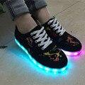 2017 Новый 8 Цветов LED Light up Обувь Мужская Женщины Мода Повседневная СВЕТОДИОД Обувь для Взрослых Зарядка USB LED Обувь