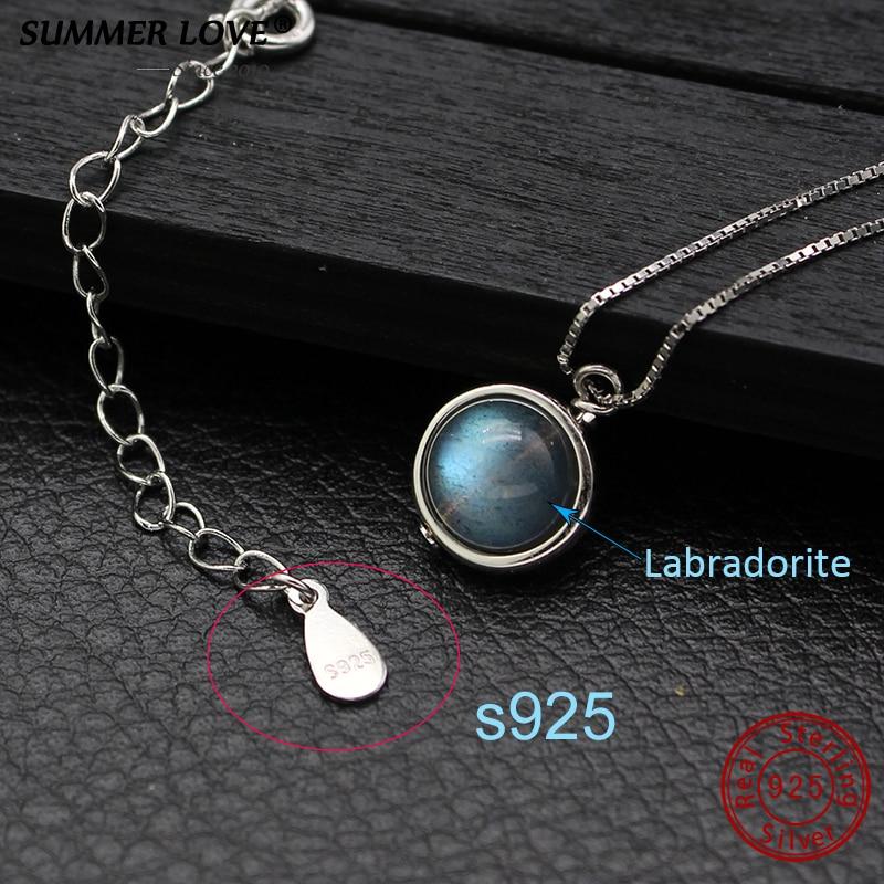 Genuine S925 Sterling Silver Labradorite Pendant Necklace For Women Fine Jewelry Nature Gemstone Handmade bijoux femme 5