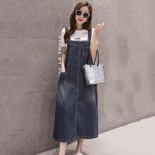 Летнее джинсовое платье на бретельках, женское платье без рукавов, сарафан длинного размера плюс, платья для женщин, Корейская уличная одежда для женщин