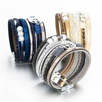 ALLYES Leather Bracelets Tree of Life Ladies Bohemian Multilayer Wide Wrap Bracelet 3