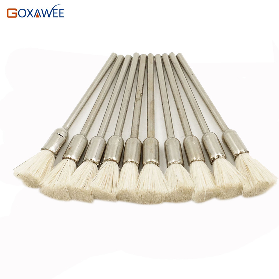 GOXAWEE 100pcs For Dremel Rotary Abrasive Tools White Goat Hair Shank 2.35mm Power Tool Accessories For Dremel Tools goxawee mini table vice dremel rotary tool screw bench vise for diy jewellery craft mould fixed repair tool dremel tools