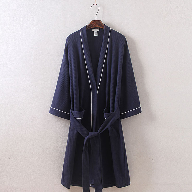 spring autumn summer Waffle cotton bathrobe man long design couples plus size robe male hotel travel