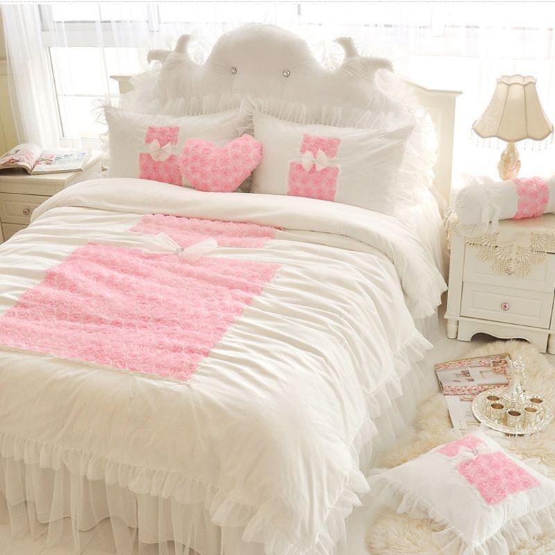 한국어 레이스 꽃 프릴 이불 커버 세트 킹 4 개 단색 공주 침구 세트 홈 섬유 침대보 침대 시트