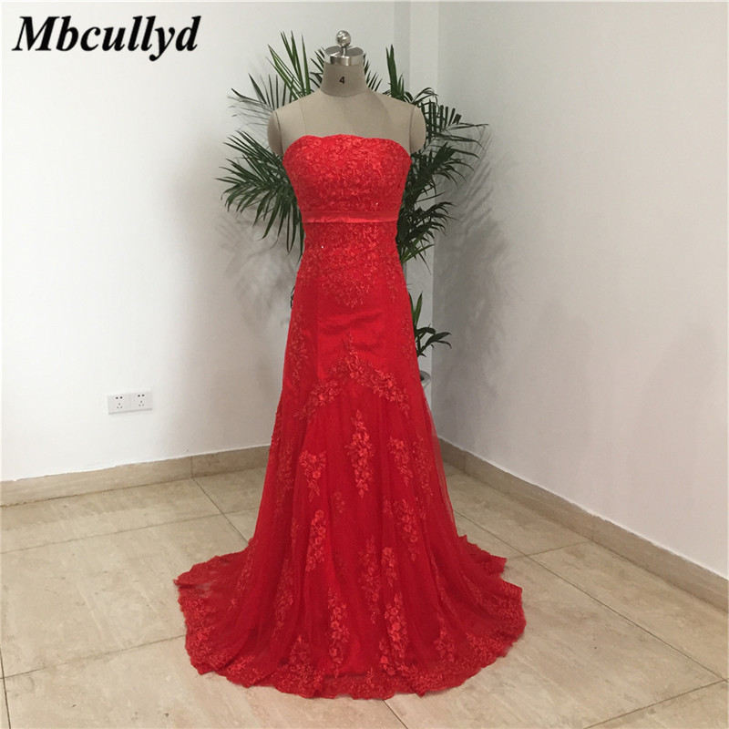 Mbcullyd Sexy Boat Neck Mermaid   Bridesmaid     Dresses   2019 Red Applique Lace Long Maid Of Honor   Dress   Party Gowns Custom Made