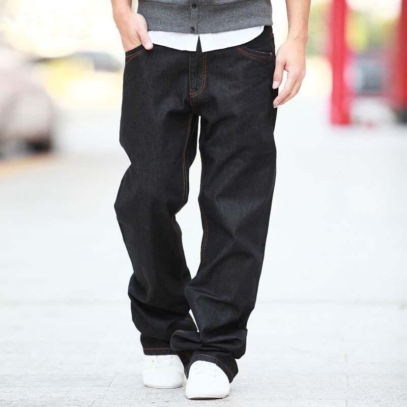 4 Season Men Fashion Jeans Pants Straight Loose Baggy Harem Denim Pants Casual Cotton Trousers Wide Leg Blue Plus Size 28-48