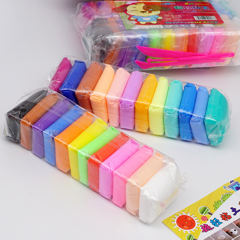 24 Color Air Dry Craft Toy With 3 Tool Educational Toy Colorful Plasticine Polymer Creative DIY Clay Toy Kid Girl Birthday Gift