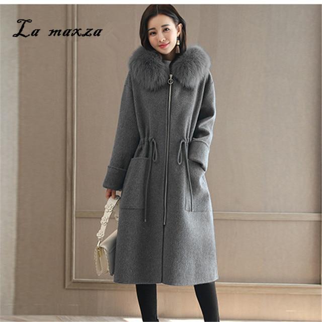 D'hiver gris Hiver Style Nouveau Lâche Manteau Laine Long Glissière Femmes Fermetures Taille Coréenne La À Plus 2018 Bleu JcT1K3ulF5
