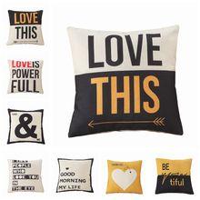 Yellow Black Love Pattern Cotton Linen Throw Pillow Cushion Cover Home Decor Sofa Bed Decor Decorative Pillowcase swans heart pattern decorative linen pillowcase