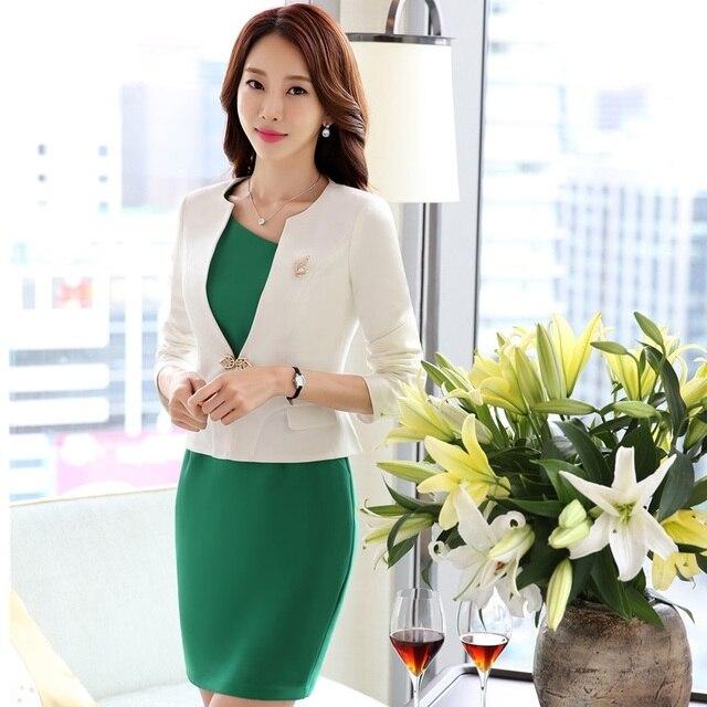 cb16ab585 Otoño Invierno Formal negocio profesional de las mujeres con trajes  chaquetas y vestido para damas Oficina