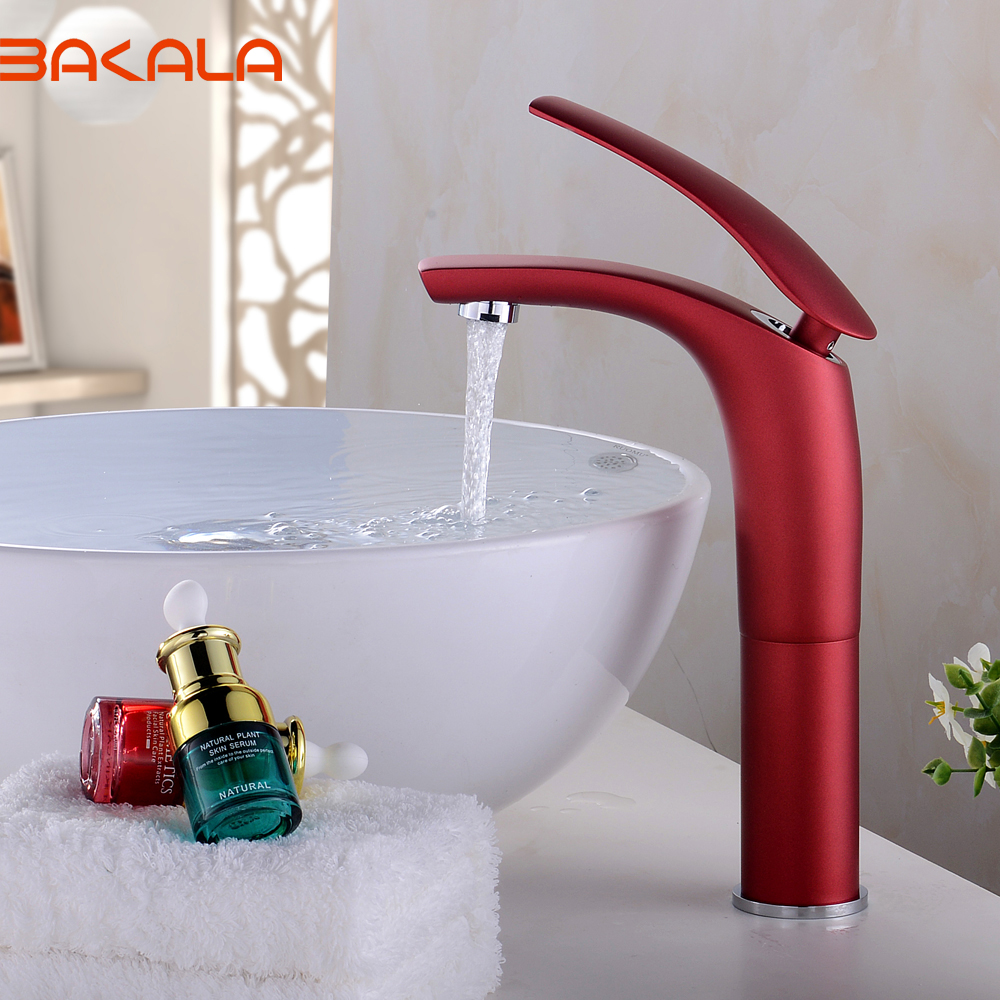 BAKALA Vintage Style Antique Faucet Black And Army Green Tall Bathroom  Faucets Brass Finish Washbasin Taps